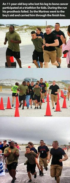 Funny pictures about Marines Help A Boy Cross The Finish Line. Oh, and cool pics about Marines Help A Boy Cross The Finish Line. Also, Marines Help A Boy Cross The Finish Line photos. Sweet Stories, Cute Stories, Happy Stories, Beautiful Stories, Mileena, Human Kindness, No Bad Days, Touching Stories, Gives Me Hope