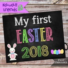 My First Easter Sign Digital Easter Chalkboard sign
