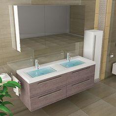 Doppelwaschtisch mit unterschrank und spiegelschrank  Waschbecken & Spiegelschrank Doppelwaschtisch Unterschrank Braun ...