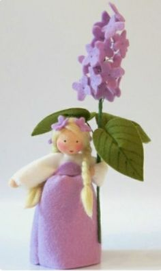 Wool-felted, Waldorf-Inspired Little Girl 'LILAC' Flower Fairy Child . by KatjasFlowerFairys Waldorf Crafts, Waldorf Dolls, Lilac Flowers, Felt Flowers, Spring Nature Table, Lily Of The Valley Flowers, Felt Fairy, Clothespin Dolls, Christmas Figurines