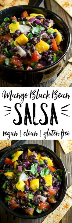 Easy Mango Black Bean Salsa - dress up anything with a scoop of this better-than-restaurant salsa! Fat-free and healthy.