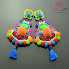 Colorful Soutache Earrings with Pom Pom  Clip on by OzdobyZiemi