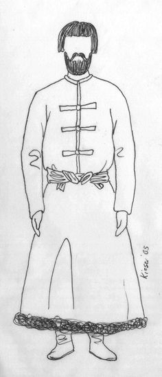 "Men's Examples in Kievan Rus Man wearing a svita open to the waist, closed with ""frogs"", belted with a fabric sash, over leather boots (and presumably trousers)."
