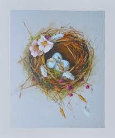 Bird Nest PRINT 8x10 of original painting The Summer by 4WitsEnd