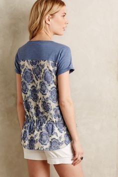 Contrast-Cinched Tee - anthropologie.com #anthrofave