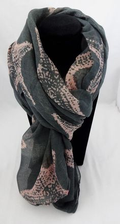 Starfish scarf charcoal gray pink wrap sarong pareo polyester  #Icon #Scarf #CasualWear