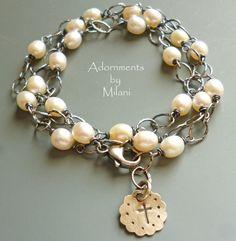Triple Three Strand Pearl Bracelet Sterling Silver Bridal Jewelry Beaded Vintage Appeal Rustic Chunky