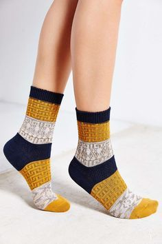 Multi-Texture Colorblock Crew Sock - Urban Outfitters