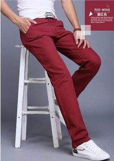 New Casual Pants Men Cotton Slim Fit Chinos Fashion Trousers – GaGodeal Slim Fit Chinos, Slim Pants, Casual Pants, Fashion Pants, Mens Fashion, Mens Joggers, Red Pants, Trousers, Menswear