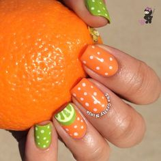 Orange and Lime Nails
