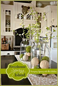 Rustic farmhouse spring decor ideas make your home look beautiful no matter the season. Find the best designs for 2017 to get the most of your seasonal décor this spring. Above Kitchen Cabinets, Kitchen Island Decor, Diy Kitchen, Kitchen Soffit, Kitchen Islands, Open Kitchen, Rustic Kitchen, Spring Home Decor, Diy Home Decor