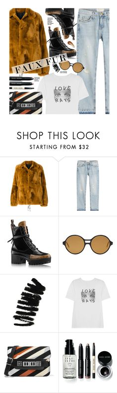 """""""Wow Factor: Faux Fur"""" by beebeely-look ❤ liked on Polyvore featuring Marni, Current/Elliott, Thom Browne, Bobbi Brown Cosmetics, AlexaChung, Proenza Schouler, This Works, StreetStyle, streetwear and fauxfur"""