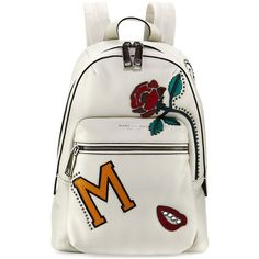 Marc Jacobs MJ Collage Biker Leather Backpack (£585) ❤ liked on Polyvore featuring bags, backpacks, white pattern, leather daypack, white backpack, leather backpack, print backpacks and patterned backpacks