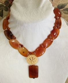 Handmade semiprecious stones FREE SHIPPING  Necklace with Carnelian Pendent and by MonteforteDesigns