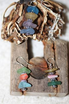 FUNKY BEAUTIFUL BEACH GLASS PENDENT AND EARRING SET