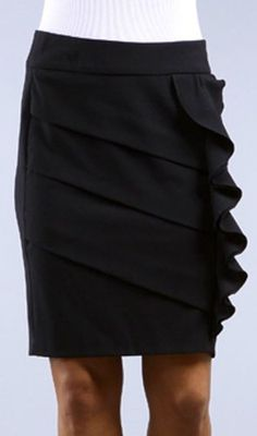Above the Knee Tiered Ruffle Skirt Black ($20.99)