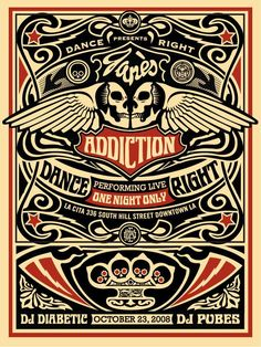 "Shepard Fairey - ""Jane's Addiction Los Angeles"" 1st Edition - 2008"