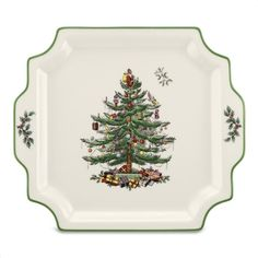 Spode 1553385 Christmas Tree Square Handled Platter