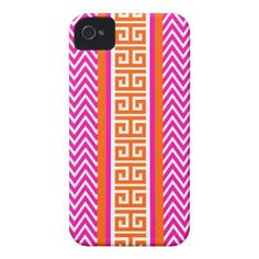 Chevron Greek Key in Hot Pink and Tangerine Case Iphone 4 Tough Cover