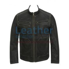Contrast Stitches Black Moto Fashion Leather Jacket for $139.30 - https://www.leathercollection.com/en-us/black-moto-fashion-jacket.html