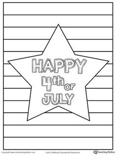 **FREE** Happy 4th of July Star Coloring Page Worksheet. Celebrate the 4th of July by coloring this Happy 4th of July Star printable page. #4thofjuly #patriotic