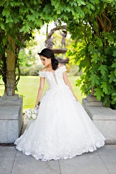 Off Shoulder Lace Ball Gown with 3D Flowers (Style #Alice PB146)