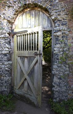 Weathered wooden garden gate
