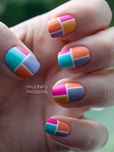 Color Block Nails - nail design | I would try this with different colors!