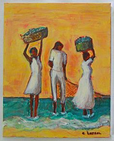 Outsider Folk Original Painting Black Fisherman Casting Net Women Dance C Larson Black Women Art, Beautiful Black Women, African American Art, African Art, Original Artwork, Original Paintings, Art Paintings, Cast Nets, Female Art