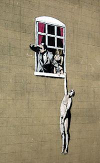 Banksy graffiti art hanging out the window iron on t shirt transfer or sticker Banksy Graffiti, Street Art Banksy, Banksy Prints, Graffiti Artwork, Bansky, Graffiti Painting, Canvas Artwork, Urbane Kunst, Art Du Monde