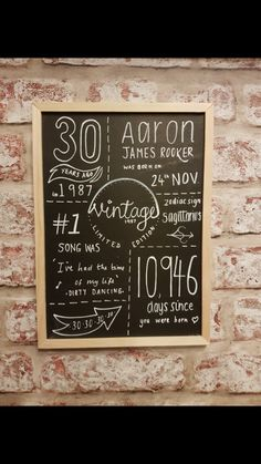 Personalised Age Chalkboard • Swords and Snoodles  30th birthday gift