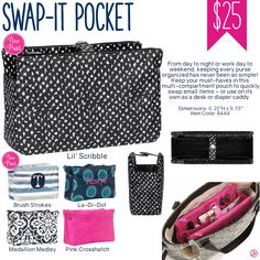 Thirty-One Swap-It Pocket - Spring/Summer this is great in the JJB better be/be all. Major game changer to keep from digging around for the stuff you need Thirty One Baby, Thirty One Games, Thirty One Purses, Thirty One Organization, Purse Organization, Thirty One Facebook, Thirty One Business, Thirty One Consultant, 31 Gifts