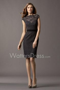 black(charcoal) lace bateau neck cap sleeve short sheath bridesmaid dress