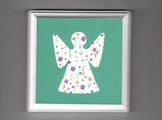 "Angel 5"" x 5"" Wood Plaque - Green Springtime - Colorful Baby Girl Nursery Wall Art - Spiritual Religious Catholic - Free Shipping"