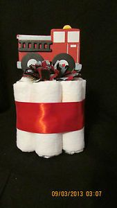 Mini Diaper Cake Frankie FIRETRUCK/Fire Engine 27 Nursery Decor/Baby Shower Gift