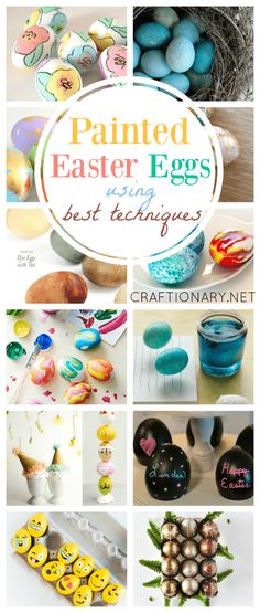 Painted Easter eggs with best techniques uses dyes and colors to make Easter eggs to decorate with kids using mess free ways and easy DIY spring projects. Easter eggs Painted Easter Eggs using best techniques - Craftionary Making Easter Eggs, Easter Egg Dye, Egg Rock, Easter Games, Homemade Paint, Spring Projects, Diy Projects, Easter Crafts, Easter Ideas