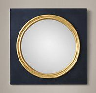 """RH's 18th C. English Regency Convex Mirror - 34"""":Convex mirrors have been used for centuries for their unique, light-enhancing effect. Inspired by the understated simplicity of an English Regency-era original, our mirror is set within a round frame, bordered with slender gilt molding."""