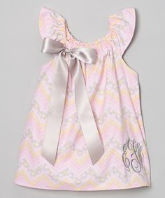Another great find on #zulily! Pink & Yellow Zigzag Bow Monogram Dress - Infant, Toddler & Girls by Enchanted Everyday #zulilyfinds