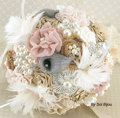Brooch Bouquet Shabby Chic Glam in Ivory, Champagne and Blush with Linen, Lace, Pearls, Burlap and Feathers on Etsy, $475.00