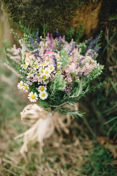 Beautiful Rustic Bride's Wedding Florals Featuring: Pink & Peach Ranunculus, Pink Wax Flowers, Lavender, Chamomile Daisies, & Several Varieties Of Greenery/Foliage, Hand Tied With A Straw Ribbon·····