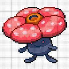 #45 Vileplume - Minecraft Pixel Art Perler Bead Disney, Pokemon Perler Beads, Pokemon Pearl, Hama Art, Pokemon Sprites, Pokemon Cross Stitch, Modele Pixel Art, Pixel Art Templates, Anime Pixel Art