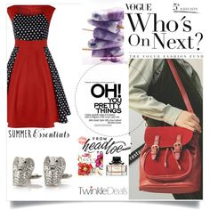Red for the win!! by amra-f on Polyvore featuring vintage, reddress and twinkledeals