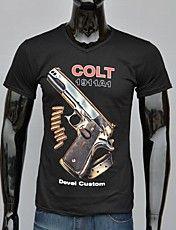 Heren Black Cotton Gun met Woorden Colt Gedru... – EUR € 9.23