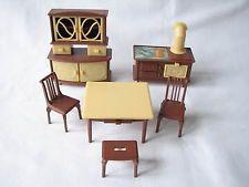Vintage Dolls House Kitchen Furniture Jean W. Germany Dresser Range Table Chairs