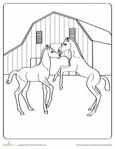 horse love coloring page - Coloring Pages Horses Foals