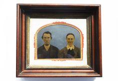 Antique Tin Picture 1800's  Full Plate Portrait by Vintassentials