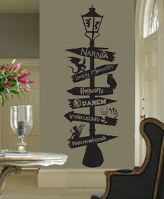 Fandom lamp sign post fairy tales geek books nursery rhymes pixie storybook fairy tales geekery - My best baby product list Deco Harry Potter, Harry Potter Room, Wall Stickers, Wall Decals, Wall Art, Deco Disney, Wall Painting Decor, Wall Drawing, Fandoms