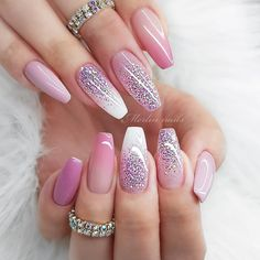 Are you looking for a gel nail art design and ideas? See our interesting collection of gel nail designs. I hope you can find the one you like best. Bridal Nails Designs, Valentine's Day Nail Designs, Glitter Nails, Gel Nails, Coffin Nails, Acrylic Nails, Uñas Fashion, Ballerina Nails, Nail Swag