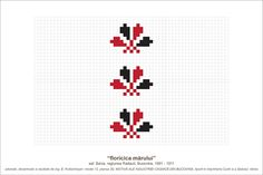 Semne Cusute: MOTIVE: floricica marului (P30, M12) Folk Embroidery, Cross Stitch Embroidery, Embroidery Patterns, Cross Stitch Patterns, Simple Cross Stitch, Pearler Beads, Pebble Art, Needle And Thread, Beading Patterns