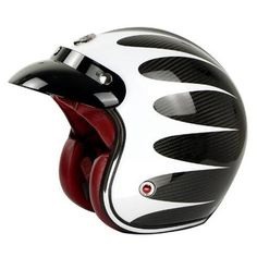 The open face helmet is also known as the motorcycle helmet because it covers the head but not the face. This helmet has a unique looking design that gives a vintage-feel which is very popular. Retro Helmet, New Helmet, Motorcycle Couple, Motorcycle Art, Motorcycle Helmets, Bicycle Helmet, Open Face Helmets, Harley Davidson Chopper, Custom Motorcycles